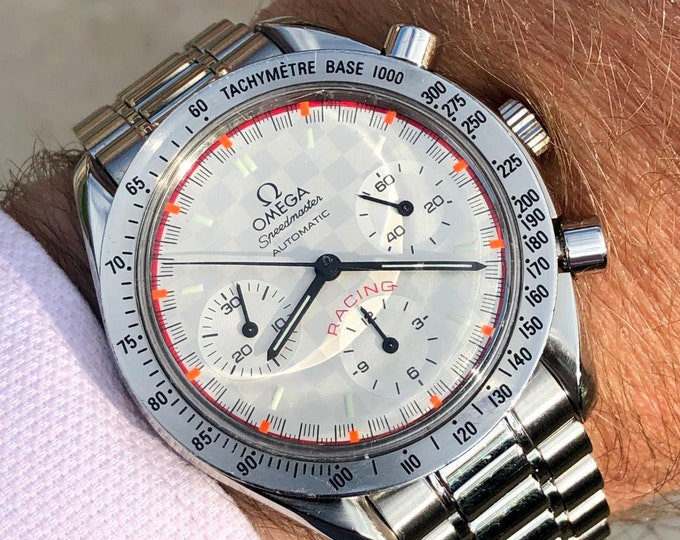 Omega Speedmaster Checkered Dial Men's chronograph reduced Automatic Michael Schumacher F1 Limited edition 2512/4000 3517.30.00 watch + Box