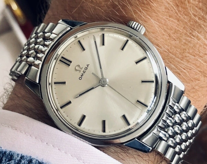 Omega 1959 Beads Rice Bracelet Men Vintage Caliber 285 Steel Serviced July 2020 watch + New Box