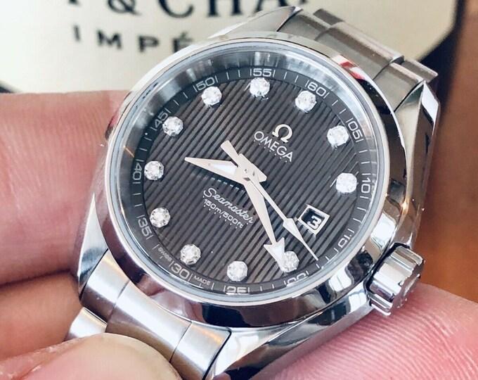 Omega Seamaster Aqua Terra Grey IF - VS Diamond Grey Dial 150m Quartz Lady watch + Box