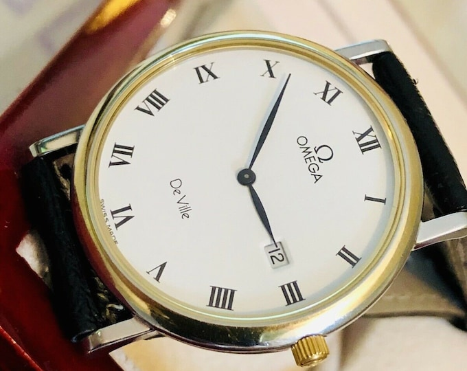 OMEGA Vintage 1980 - 1989 Mens Roman Numeral's De Ville Gold and Steel Quartz Gents Watch Wristwatch with new black leather strap + Box