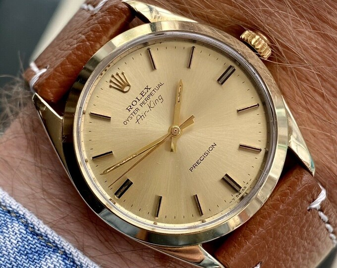 Genuine Rolex Air King 5520 Oyster Gold Perpetual Automatic vintage 1978-1979 Men's watch 34mm Box Cal 1570 Brown Leather Gents