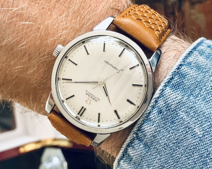 Omega Seamaster Stainless Steel Mens 1963 rare Jumbo 36mm size Vintage watch + Box
