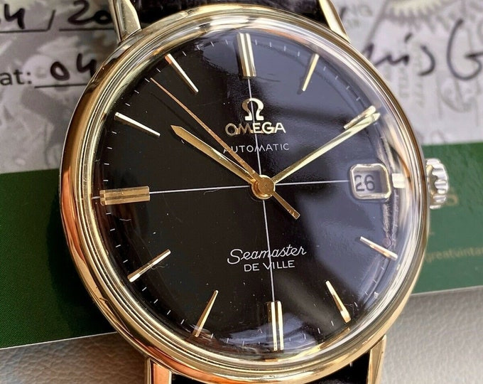 Omega Seamaster De Ville Black Dial Face Gold Automatic vintage watch + Box