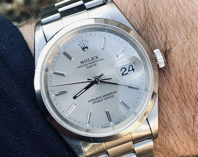 Rolex Oyster Perpetual Date 15200 Automatic Mechanical Men's midsize serviced watch 34mm + Box + 6 month warranty