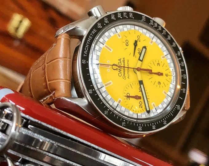 Omega Speedmaster Yellow Dial Men's chronograph reduced Automatic watch + Box