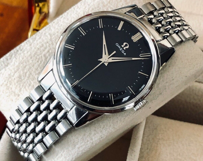 Omega vintage Steel Beads of Rice Bracelet 1961 Black Dial dress serviced revised February 2020 watch + box