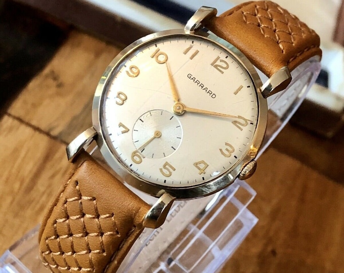 Garrard Sub Seconds dial Solid 9K Gold Mens Mechanical watch vintage gent + Box