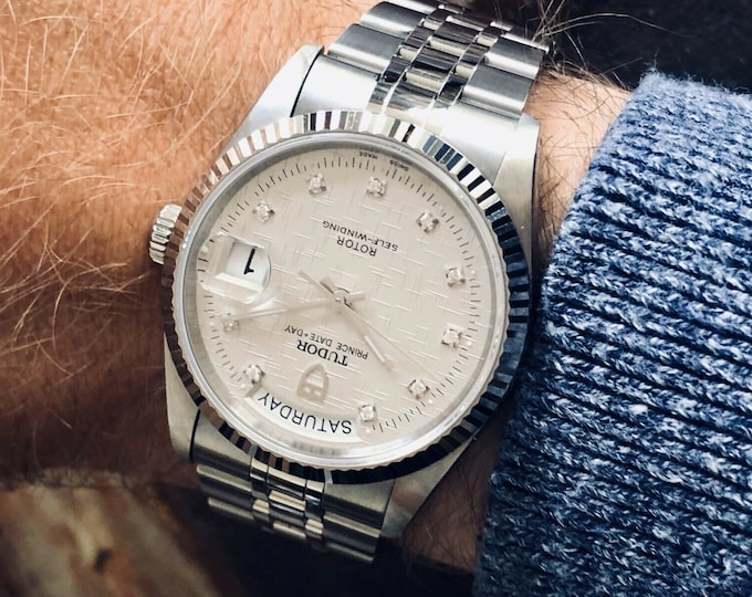 Tudor 76214 Rolex Prince Date Day Diamond Linen Dial Mens 34mm steel Full Set 2018 watch + Box + Papers / Cards
