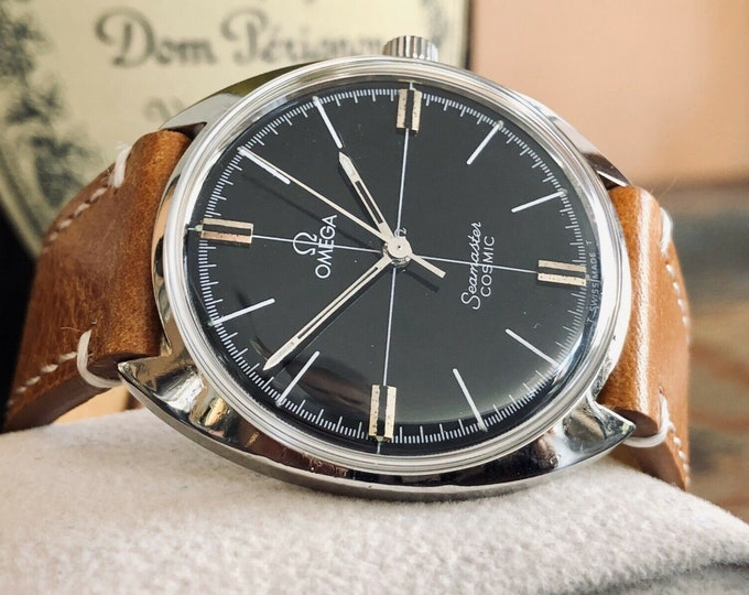 Omega Seamaster Cosmic Vintage 34mm Steel Mens Mechanical 1967 Black dial face Serviced April 2020 watch + New box