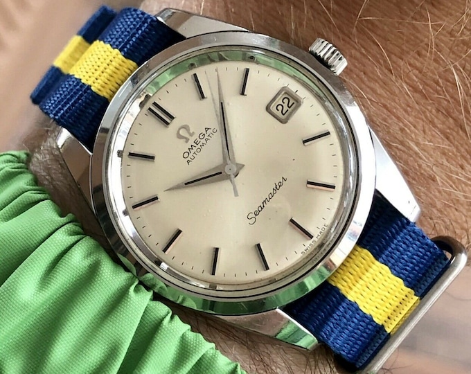 Omega Seamaster Stainless Steel Mens 1966 rare Jumbo 35mm size Vintage Automatic 565 watch + New Box