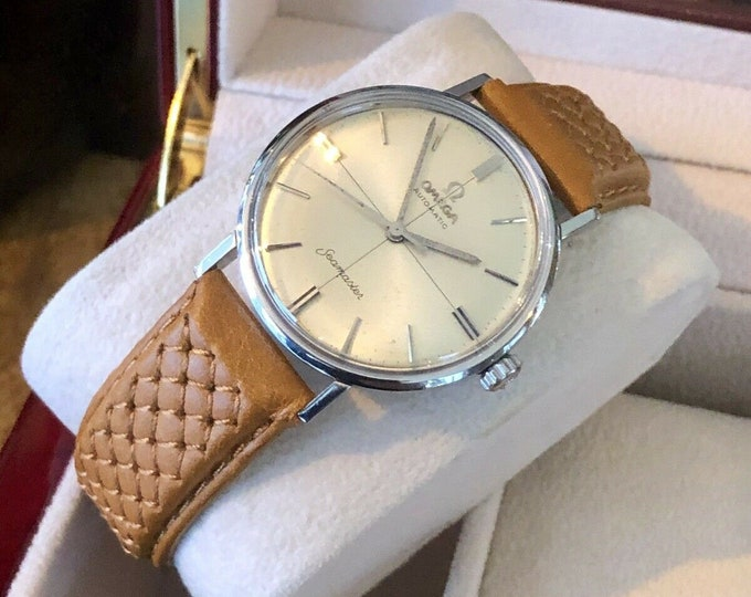 Omega Automatic Seamaster 1960s Mens Vintage Stainless Steel Crosshair watch + New Box