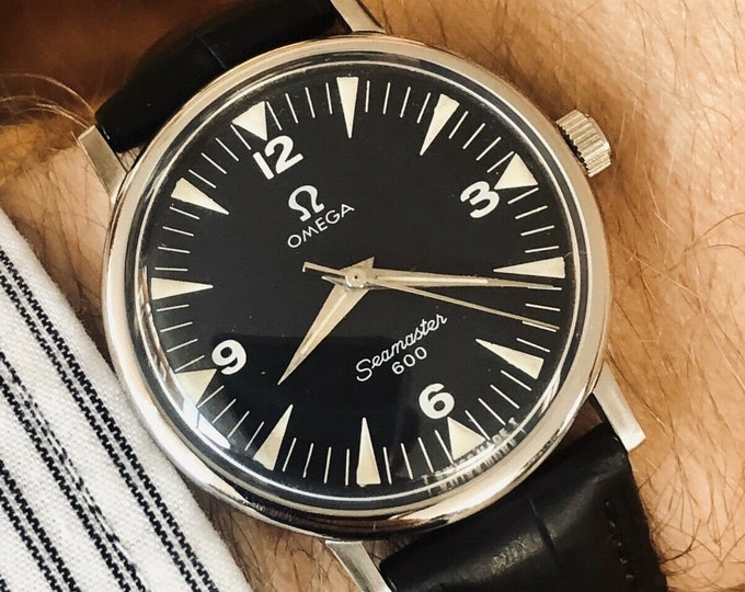 Omega Seamaster 600 Military vintage black dial mens 1964 watch serviced January 2020 + Box