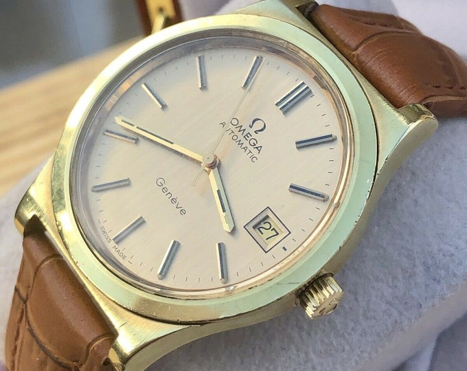 Omega Mens Geneve vintage Watch CAL 1012 Gold Plated Automatic Mens + Box