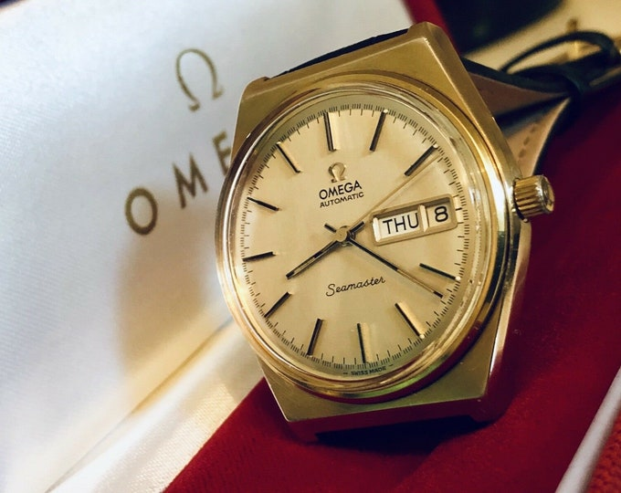 Omega Seamaster Day Date vintage watch cal 1022 automatic gold plated case 1970 to 1979 Men's dress wristwatch + Original Box