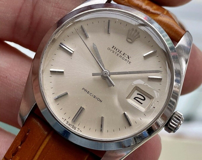 Rolex 1977 Oysterdate Precision Stainless Steel Bracelet Mechanical White 6694 Mens Vintage watch + Box