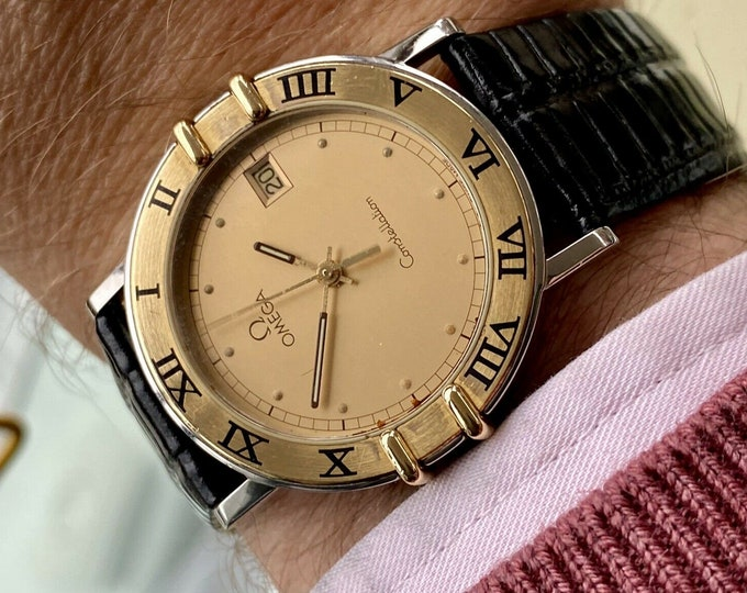 Omega Constellation Champagne Dial Men's Gold & Steel Quartz 33mm vintage 1989 watch