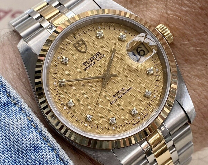 Tudor Ref 74033 Two Tone Gold Steel Prince Date Diamond Linen Dial vintage Mens 1987 watch