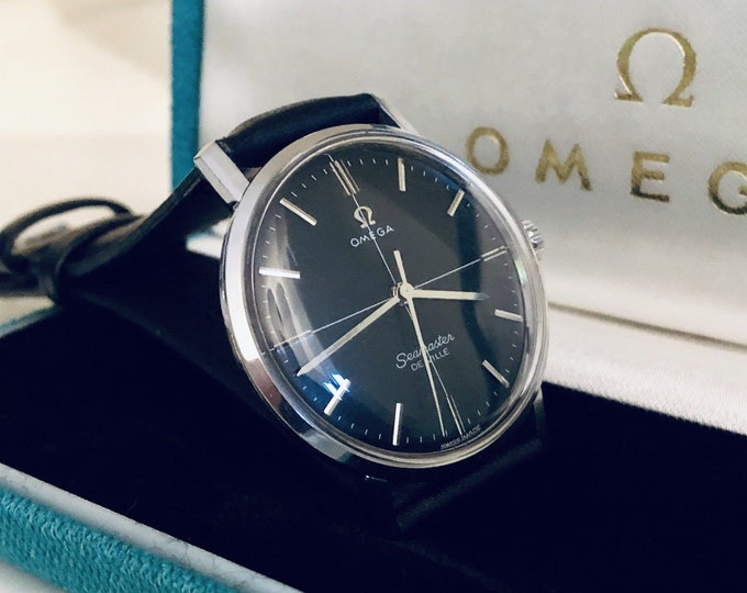 Omega Seamaster De Ville vintage watch Mechanical Automatic cal 600 steel black dial crosshair 1960s used second hand + Mint Box