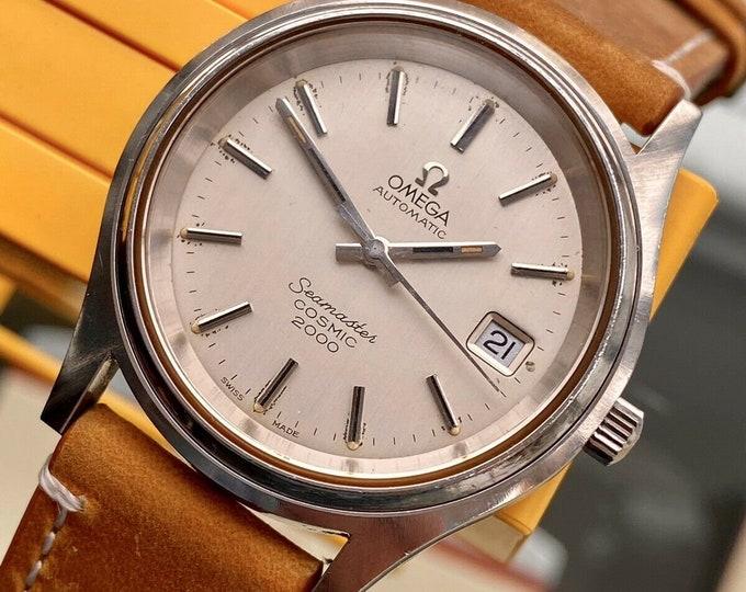 Omega Seamaster Cosmic 2000 Vintage Steel Mens Automatic Jumbo serviced February 2021 watch + Box