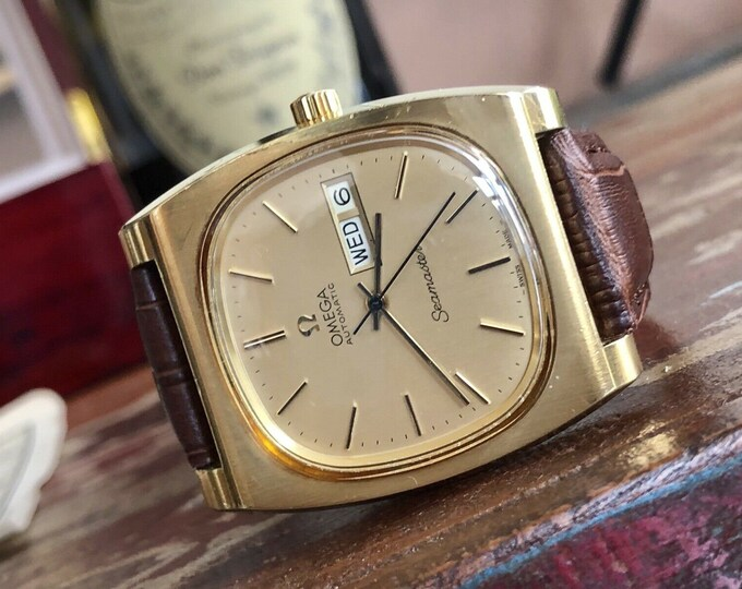 Omega Seamaster Day Date Gold Capped Vintage Mens Automatic Cal 1022 watch + Box