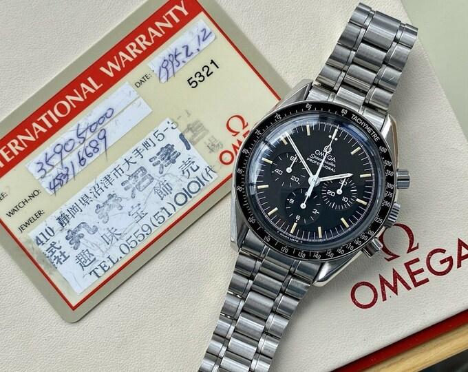 Speedmaster Cal 861 Moonwatch ST 145.022 Men's Bracelet 1995 serviced June 2021 vintage stainless steel watch + Box + papers card