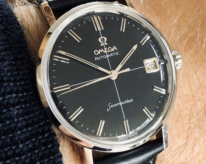 Omega 1962 Seamaster Auto Crosshair Black Dial Mens Vintage Automatic watch + Box