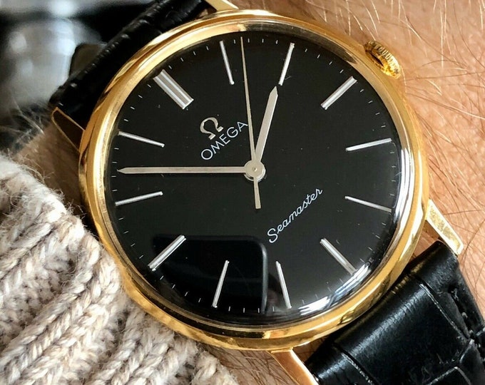 Omega 1969 vintage Seamaster Gold Plated Black Face Dial Mechanical Leather Mens watch