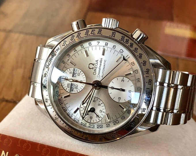 Omega Speedmaster Silver Dial Men's Triple Date reduced Automatic watch Full Set + Box