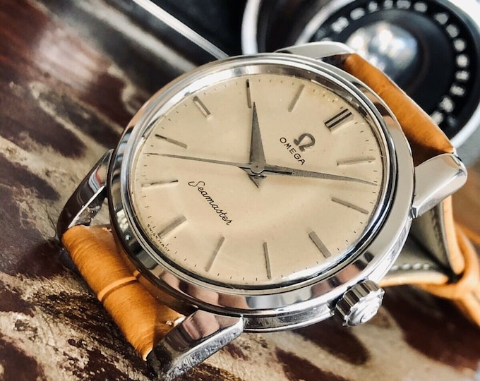 Omega Seamaster Caliber 420 Hand Winding Stainless Steel Mens Vintage 1956 watch + Box