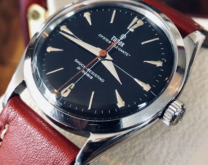 Tudor Rolex Mechanical Oyster Elegante Elegance vintage Steel Mens 7960 Black Dial face watch