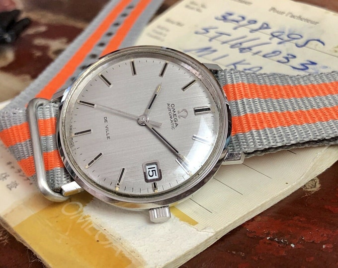 Omega Automatic De Ville Steel Mens Vintage 1972 Box Papers Nato leather watch