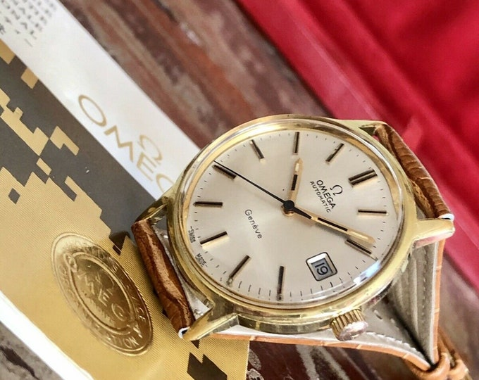Omega 1970s vintage Geneve Gold Automatic Leather Mens watch Full Set Papers Box + Service card May 2020