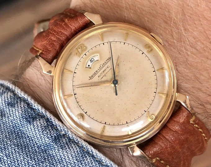 1950's Jaeger LeCoultre JLC Power Reserve Solid Rose Gold Vintage Men's 40 Hour Power Reserve Watch + Box