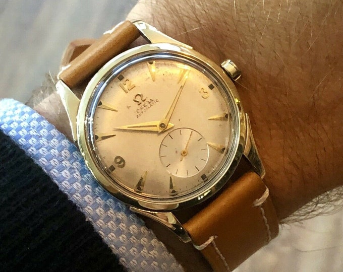 Omega 1952 Bumper Automatic 14K Gold & Steel Mens vintage sub seconds dial watch + New Box