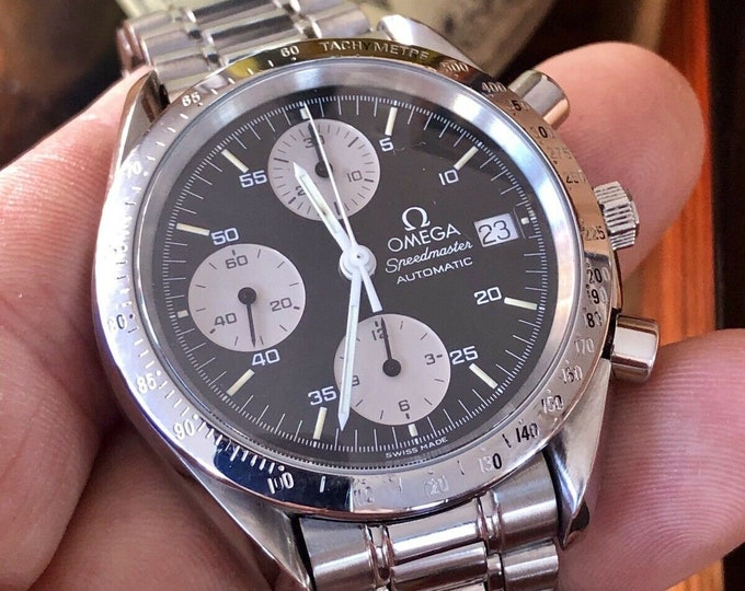 Omega Speedmaster Reverse Panda Black Dial Men's Automatic Cal 1155 watch in stunning condition + Box