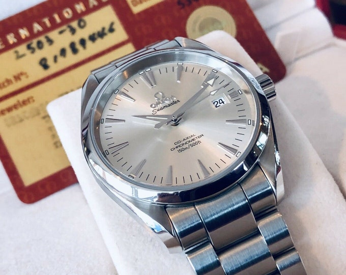 Omega Seamaster Aqua Terra 150M Co-Axial 39mm Steel Bracelet Silver Dial Full Set + Box