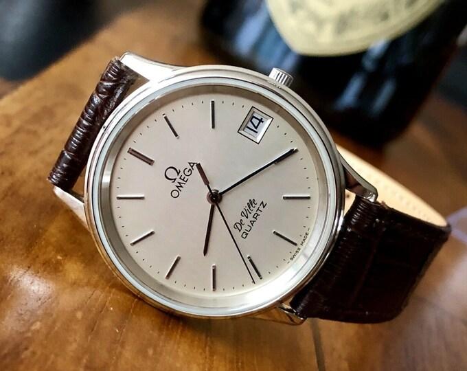 Omega De Ville Vintage 1979 1332 Round Dial Quartz Steel Date Mens watch + Box