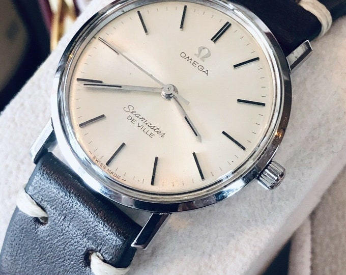 OMEGA Mechanical Seamaster De Ville Stainless Steel Date vintage men watch + Box