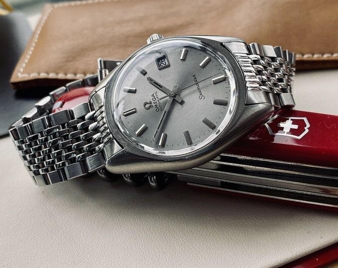 Omega Seamaster Beefy Lug 1972 Grey Steel Bracelet Mens Vintage Automatic serviced April 2021 watch + Box