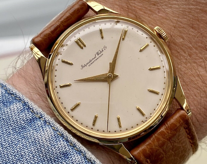 International Watch Company IWC Vintage Mens Automatic 18K solid gold serviced watch