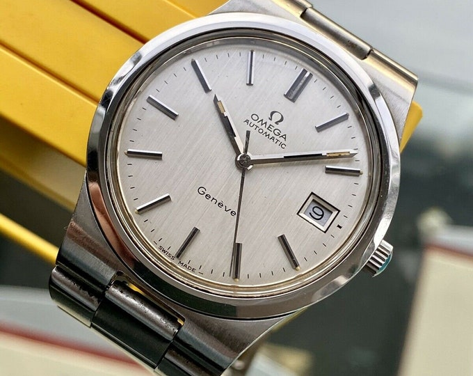 Omega 1973 vintage Geneve Steel Silver Dial Mens used Automatic serviced watch