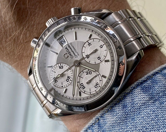 Omega Speedmaster Silver Grey Dial Men's Date reduced 39mm Automatic 2000s Chronograph reduced watch + Box