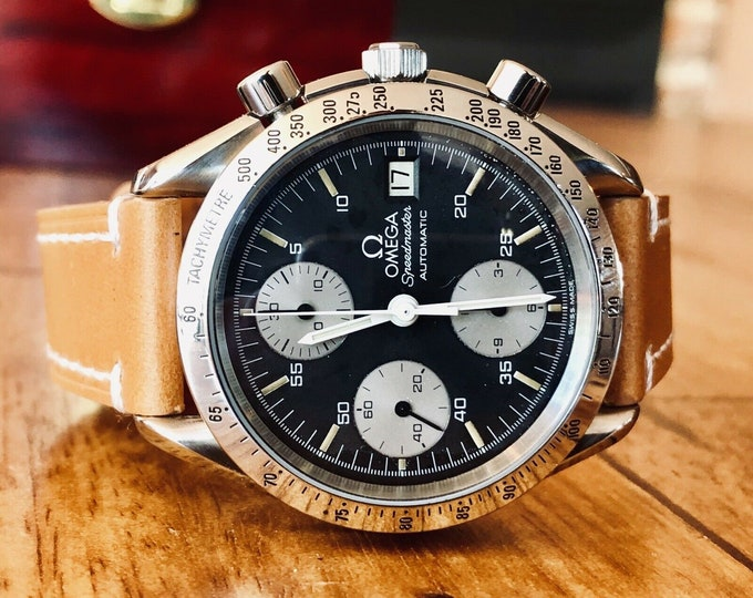 "Omega Speedmaster ""Reverse Panda"" Black Dial Men's Automatic Cal 1155 Reduced 38mm watch + Box"