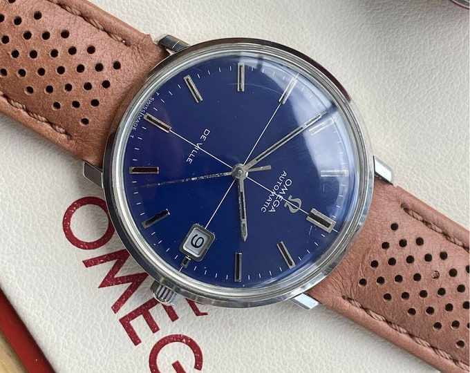 Omega Automatic De Ville Stainless Blue Dial Steel Mens Vintage serviced May 2021 watch