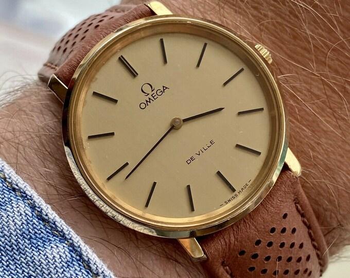 Omega vintage Mens vintage watch De Ville Gold brown leather Papers men 1977 watch + Box