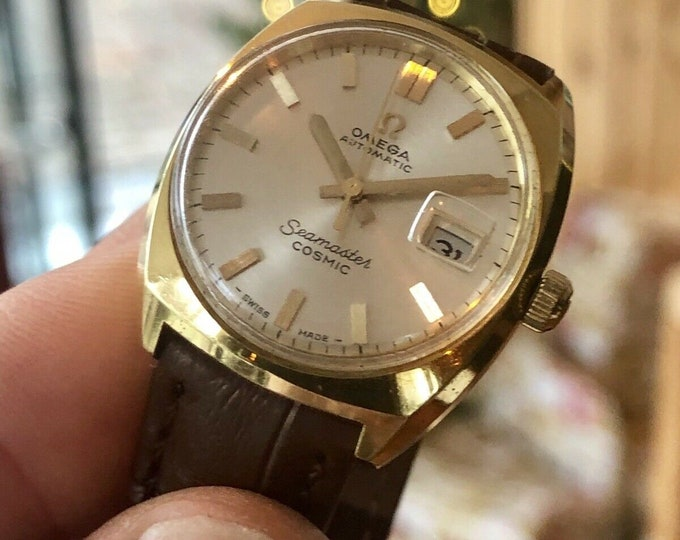 Omega lady women's Seamaster Calibre 684 Automatic Gold Date 1960s watch + Box