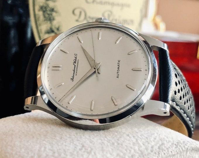 International Watch Company IWC Vintage Mens dress Automatic steel caliber 853 watch + box + Service Card