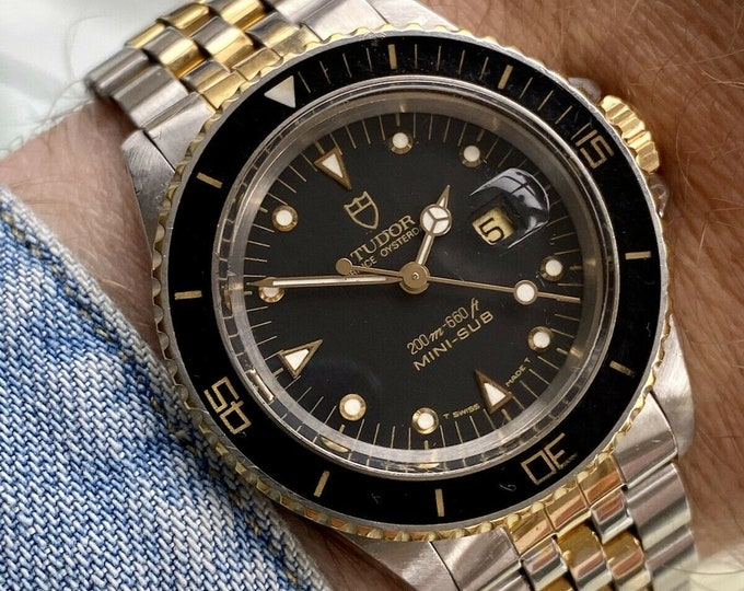 Tudor Mini Sub 73091 Gold Steel Two Tone Submariner 200m Prince Oysterdate 1990 watch + Box Papers history