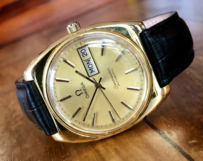 Omega Seamaster Gold Plated Mens Vintage 1977 Automatic Cal 1022 Day Date watch