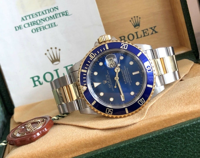 Rolex Submariner 16613 Blue Dial Gold Steel 1994 Mens watch Full set Box Papers Calibre Movement 3135 18K Gold & Steel 40mm case